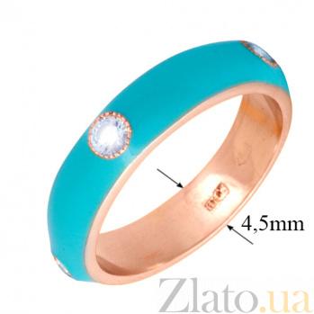 Золотое кольцо Пастель с фианитами и эмалью цвета бирюзы К221кр/бир