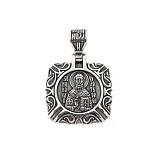 Серебряная ладанка черненая Святой Николай