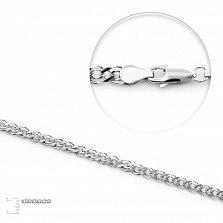 Серебряная родированная цепочка Антарктика в плетении нонна, 3 мм