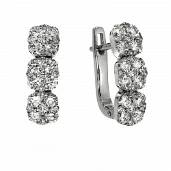 Серьги из белого золота Бонита с бриллиантами и бериллами 000043965