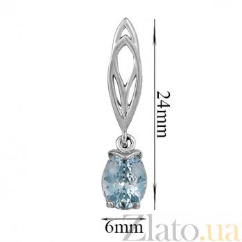 Серьги в белом золоте Альбина с голубым топазом 000023400