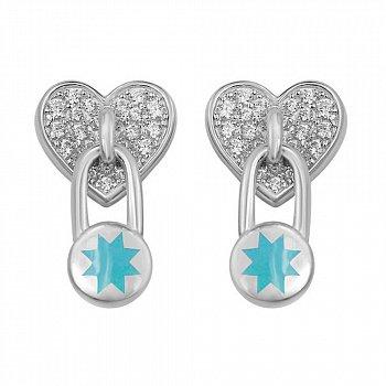 Серебряные серьги-пуссеты с подвесками-замочками, голубой эмалью и фианитами 000105943