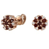 Серьги из красного золота Бьянка с гранатами и бриллиантами
