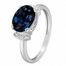 Серебряное кольцо Эльвира с синтезированными сапфирами и фианитами