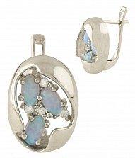 Серебряные серьги Зузанна с голубым опалом и фианитами