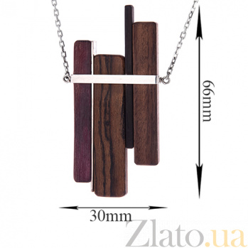 Серебряное колье Боанье с палисандром, эбеном и бокоте 000052118
