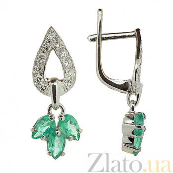 Серебряные серьги с цирконом и изумрудами Санти ZMX--ECzE-6537-Ag_K