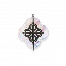 Серебряный подвес-цветок для конструктора Лакшери (середина) с перламутром и черными фианитами