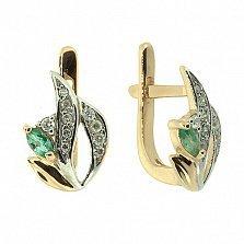 Золотые серьги с бриллиантами и изумрудами Цветана