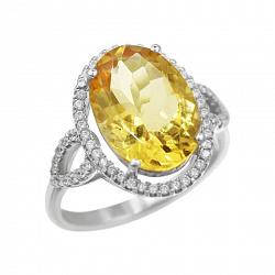 Серебряное кольцо Бриггита с цитрином и фианитами