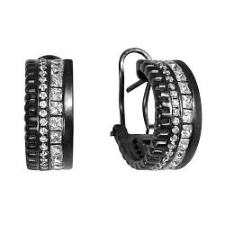 Серебряные серьги в черном цвете с белыми фианитами 000093701