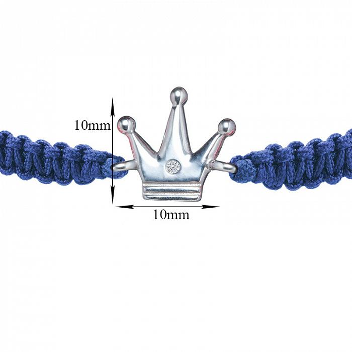 Синий плетеный браслет Волшебная страна с cеребряной вставкой и фианитом, 10х10мм 000080639