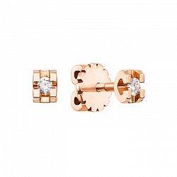 Серьги-пуссеты из красного золота с бриллиантами 000104226
