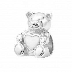 Серебряный шарм Мишка с белой эмалью 000116410