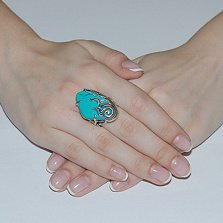 Серебряное кольцо с бирюзой Секрет океана