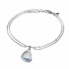 Серебряный двойной браслет Сердце малое с плавающими камнями цвета микс в стиле Шопар,10x10мм