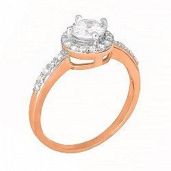 Позолоченное серебряное кольцо с цирконием  000028410