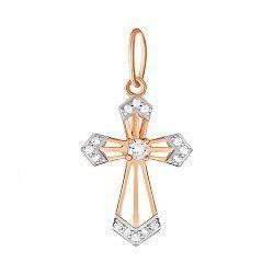 Серебряный крестик Небесное сияние с позолотой и фианитами 000035198