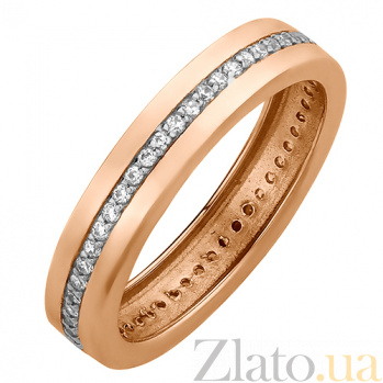 Обручальное кольцо в красном золоте Гортензия с фианитами 000023300