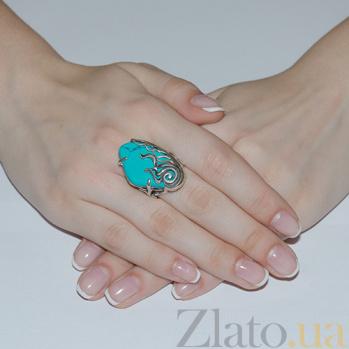 Серебряное кольцо с бирюзой Секрет океана 1270/бир