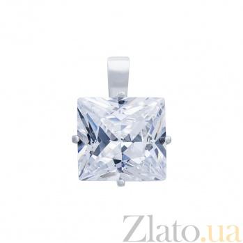 Серебряный кулон с белым цирконом Грейс  AQA--74516б