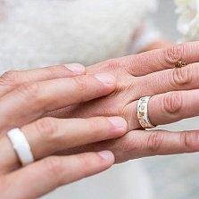Золотое обручальное кольцо Гинкго Билоба с эмалью (женское)