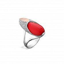 Серебряное родированное кольцо Присцилла с золотой накладкой, имитацией коралла и фианитами
