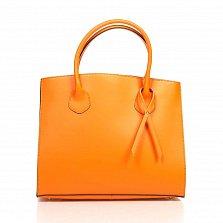 Кожаная деловая сумка Genuine Leather 8983 оранжевого цвета на магнитной кнопке с подвеской из кожи