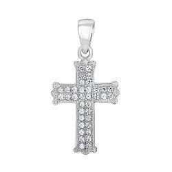 Серебряный декоративный крестик с фианитами 000140375