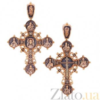 Золотой крест с чернением Святые заступники HUF--11477-Б.Ч