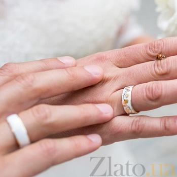 Золотое обручальное кольцо Гинкго Билоба с эмалью (женское) 000029385