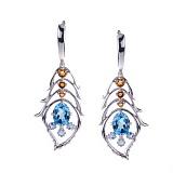Серебряные сережки Магические перышки с топазами и цитринами