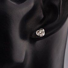 Серебряные серьги-пуссеты Волна с бриллиантами