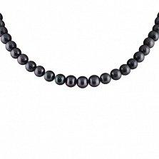 Ожерелье из черного жемчуга Эстель с серебряным замком, р.42