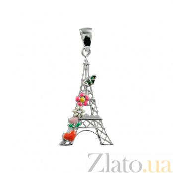 Серебряный подвес с эмалью Париж 3П203-0049