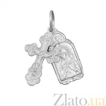Серебряный крестик с ладанкой Заповедь 000028497