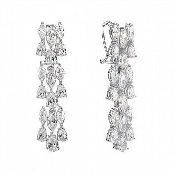 Срібні сережки-підвіски з цирконієм 000144820