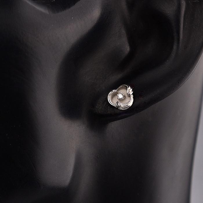 Серебряные серьги-пуссеты Волна с бриллиантами 000098228