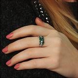 Серебряное кольцо Летние побеги с зелеными агатом, кварцем и прозрачным цирконием