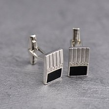 Серебряные запонки Стиви с дорожками белых фианитов, черной эмалью и фактурной поверхностью