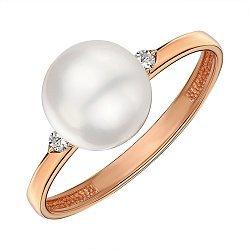 Кольцо из красного золота с жемчугом и фианитами 000144211