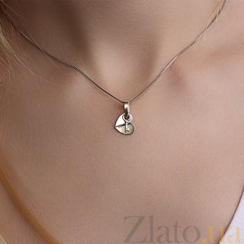 Серебряный подвес Ключ к сердцу с золотой вставкой и цирконием 000033701