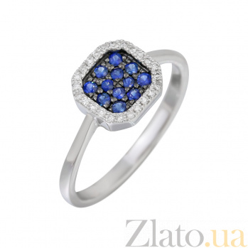 Кольцо из белого золота с сапфирами и бриллиантами Флоренция 000032302