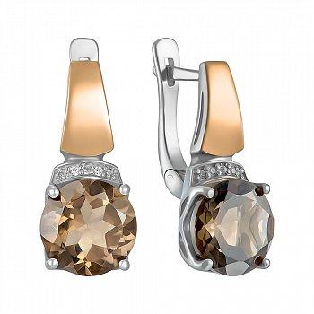 Серебряные серьги с золотыми вставками, раухтопазами и фианитами 000137377