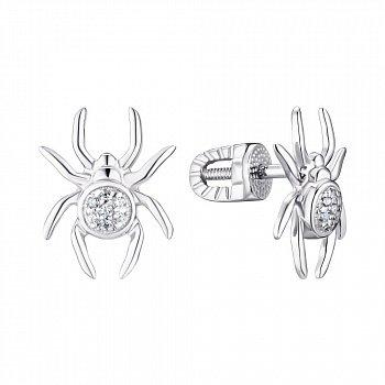 Серебряные серьги-пуссеты с фианитами 000148469