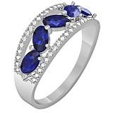 Золотое кольцо Ривьера с сапфирами