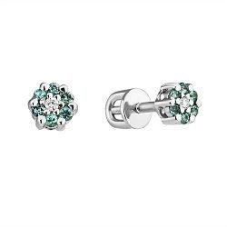 Серебряные серьги-пуссеты Селин с изумрудами и бриллиантами