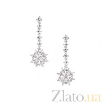 Серьги из белого золота с бриллиантами Снежинки 1С698-0003
