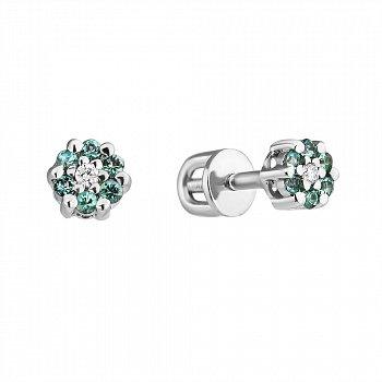 Серебряные серьги-пуссеты с изумрудами и бриллиантами 000022318