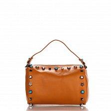 Кожаный клатч Genuine Leather 1519 темно-рыжего цвета с короткой ручкой и декоративными элементами